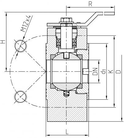 Ball valve ZK-S10-32- scheme