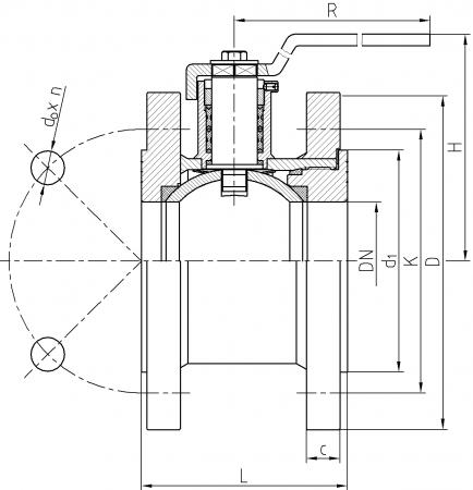 Ball valve ZK-S/40-100 - scheme
