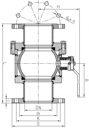 Ball valve ZK-S/125-150 - scheme